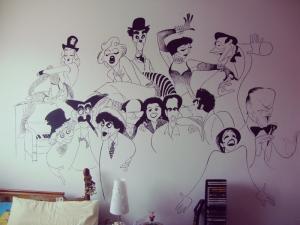 Mural de Al Hirschfeld pintado a mano cuando las cosas me importaban lo suficiente XD
